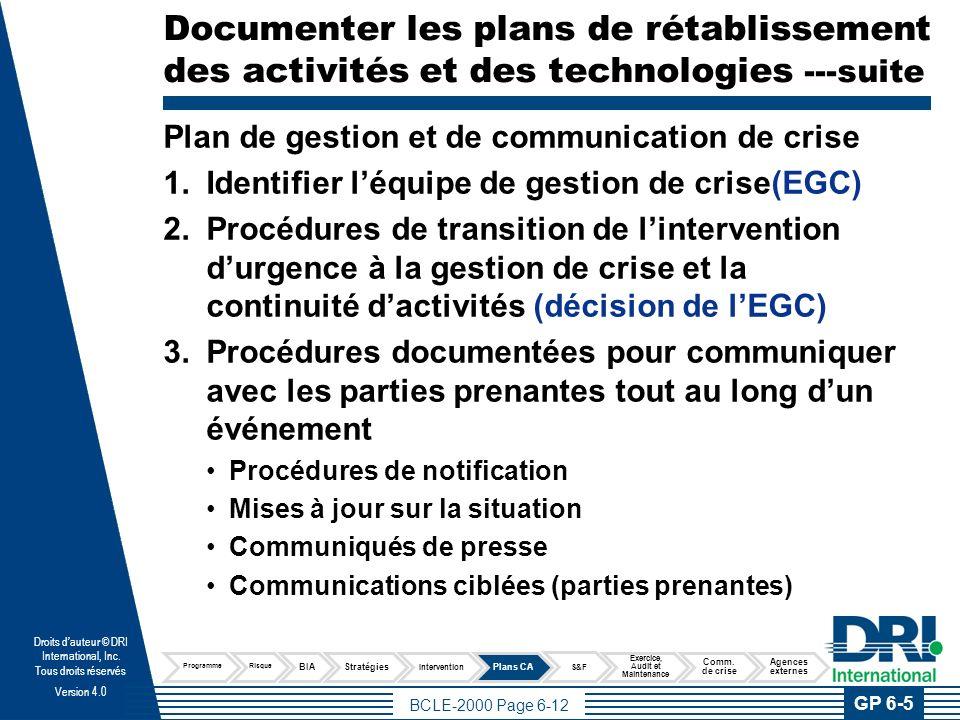 Documenter les plans de rétablissement des activités et des technologies ---suite