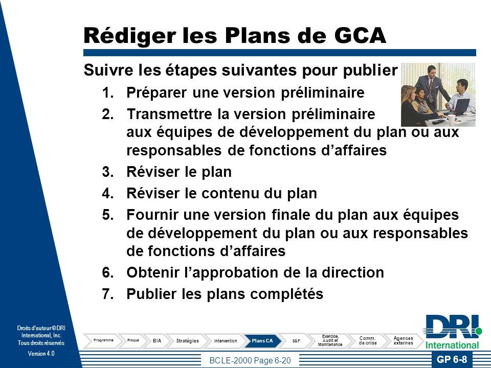 Documenter le Plan Assurez-vous d'avoir ce qui suit avant d'avoir besoin du plan de continuité d'activités.