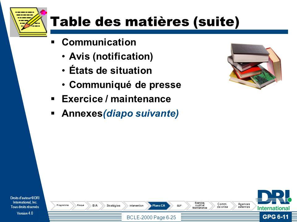 Annexes Cette section du Plan comprend l'information générale pouvant être utile en cas de sinistre, telle que :