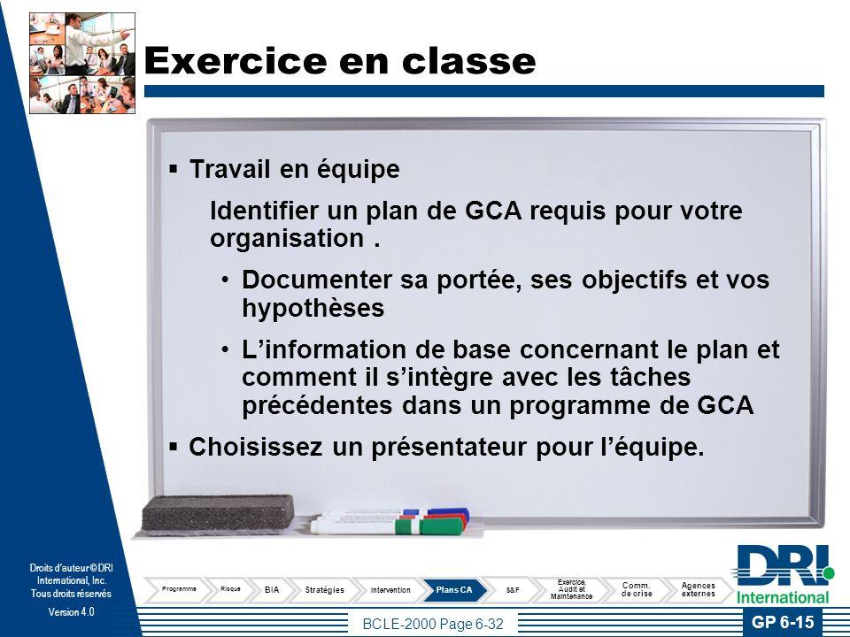 Test de connaissance Pratique professionnelle 6 Élaborer et implanter les plans de continuité d'activités