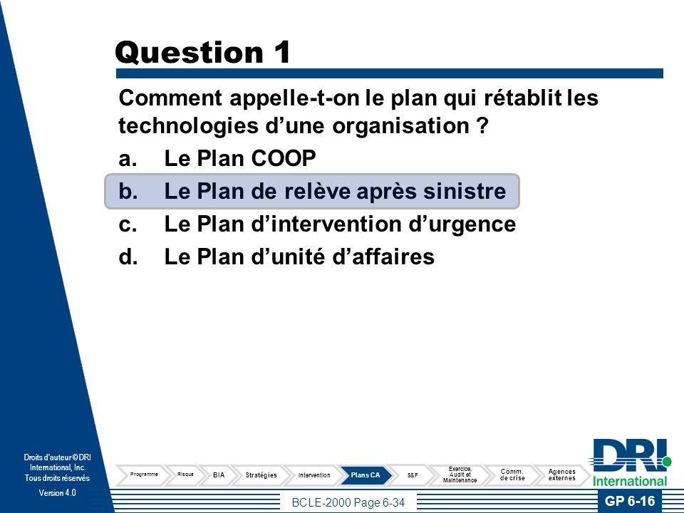 Question 2 Le Plan qui inclut l'information relative à la protection des personnes se nomme : Plan de relève après sinistre.
