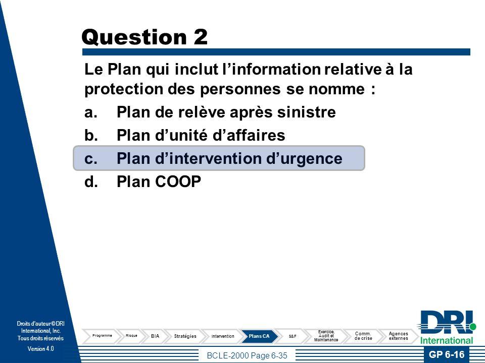 Question 3 Quel est l'élément le plus important à inclure au moment d'élaborer le scénario pour développer le Plan