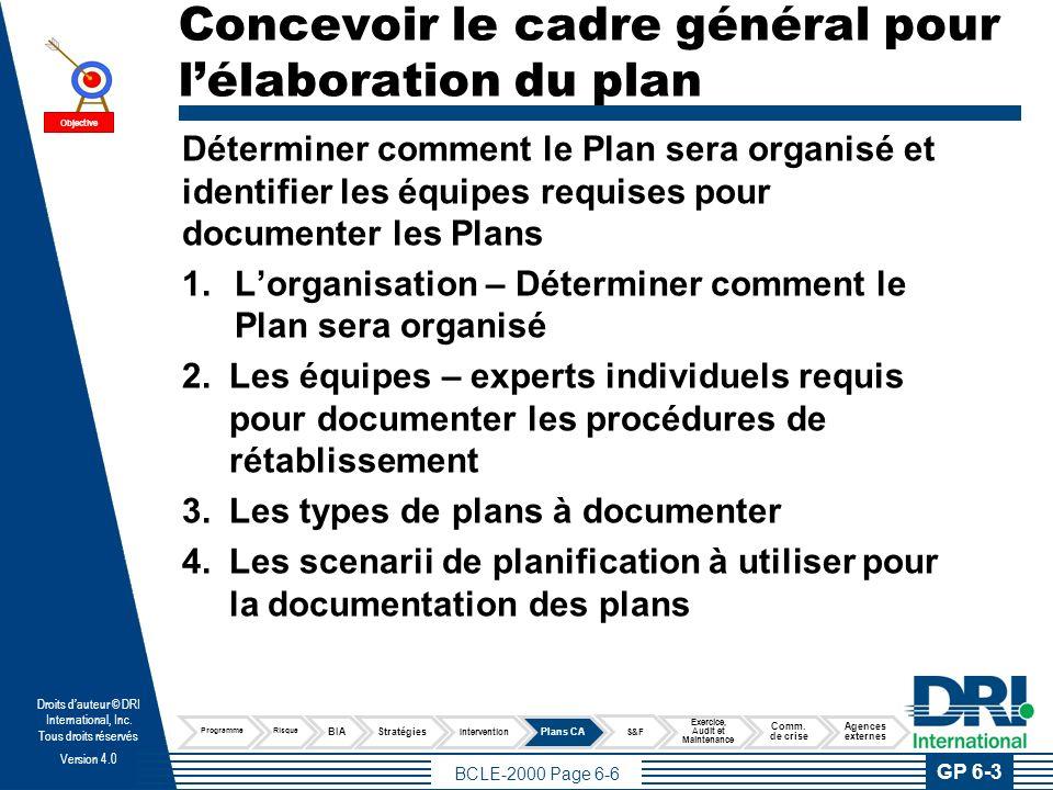 Concevoir le cadre général pour l'élaboration du plan --- suite
