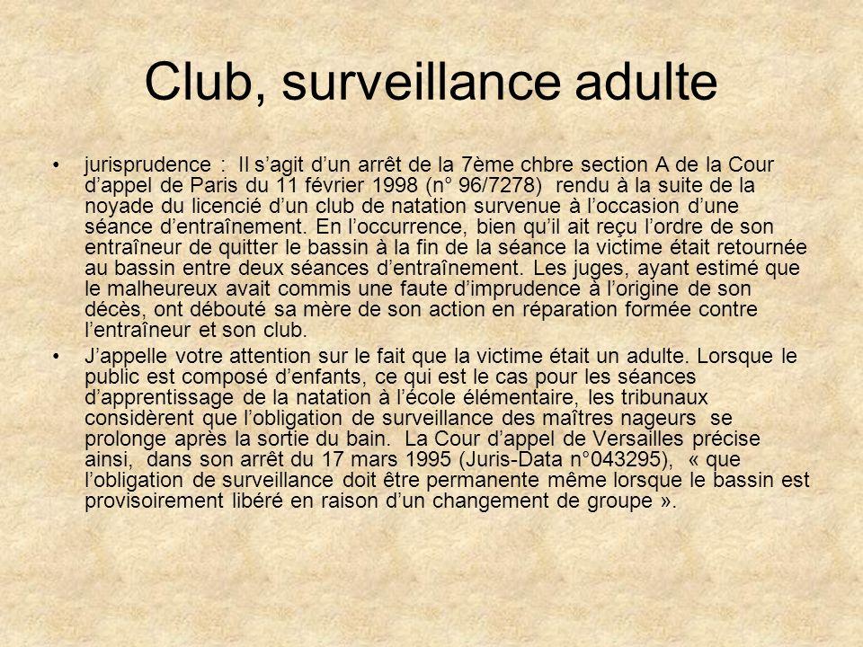 Club, surveillance adulte