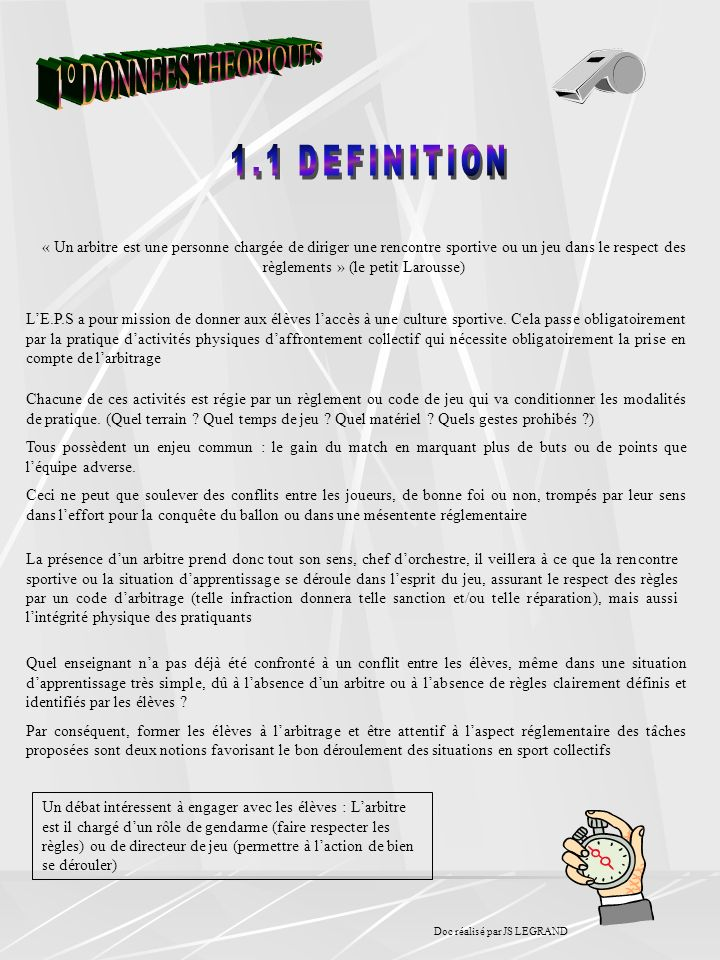 1° DONNEES THEORIQUES 1.1 DEFINITION