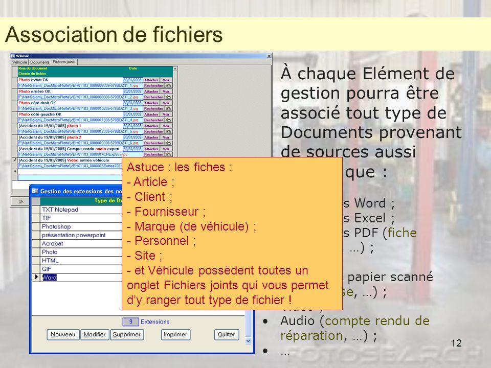 Association de fichiers