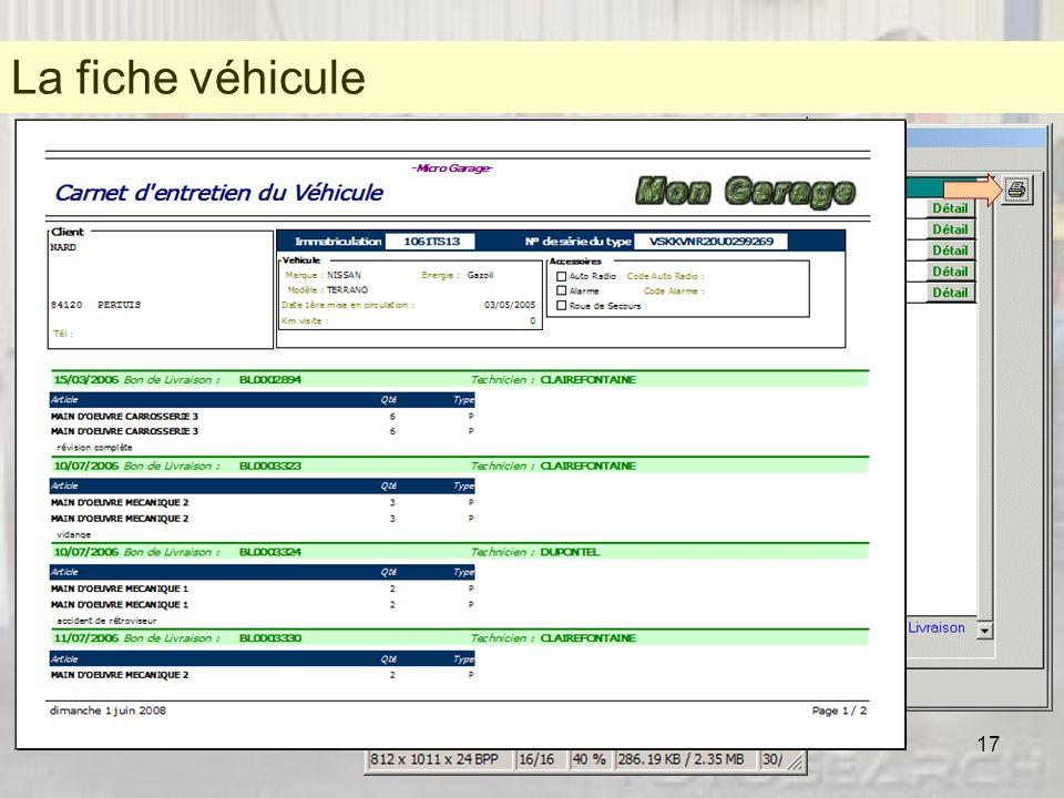 Une fiche véhicule La fiche véhicule. * Une fiche véhicule complète qui « colle » aux cartes grises.