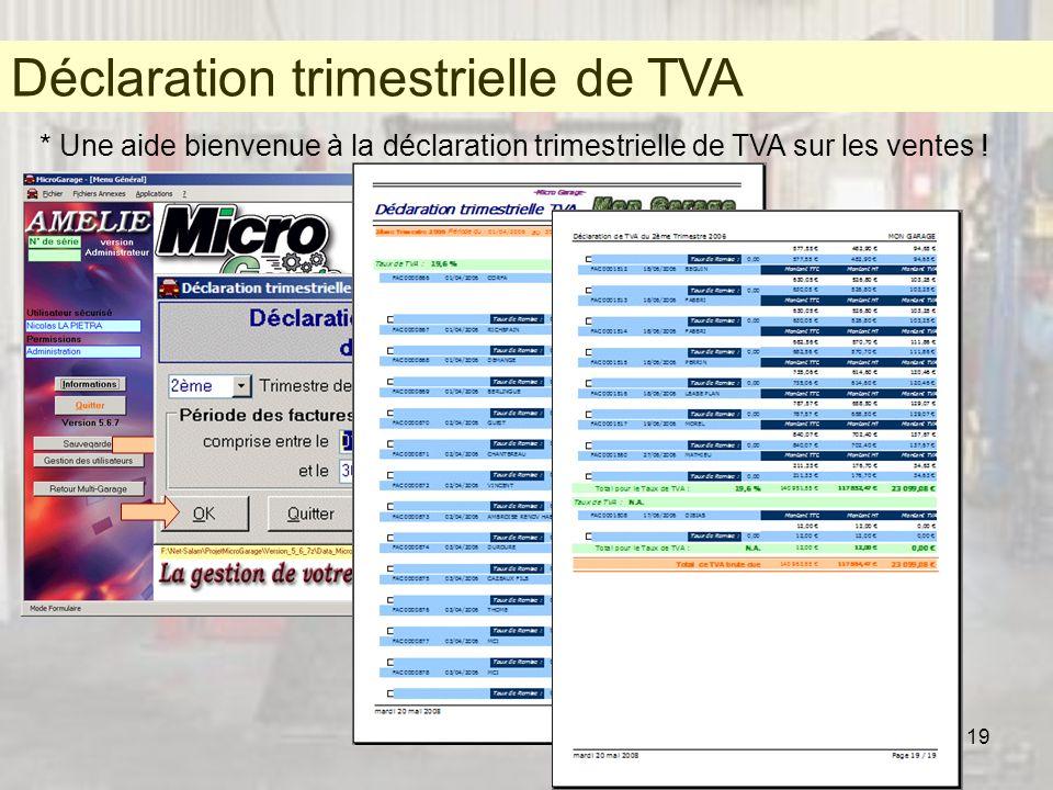 Déclaration trimestrielle de TVA