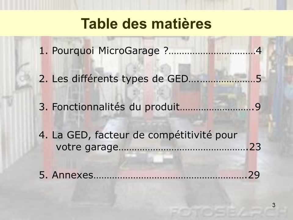 Table des matières 1. Pourquoi MicroGarage ……………………………4