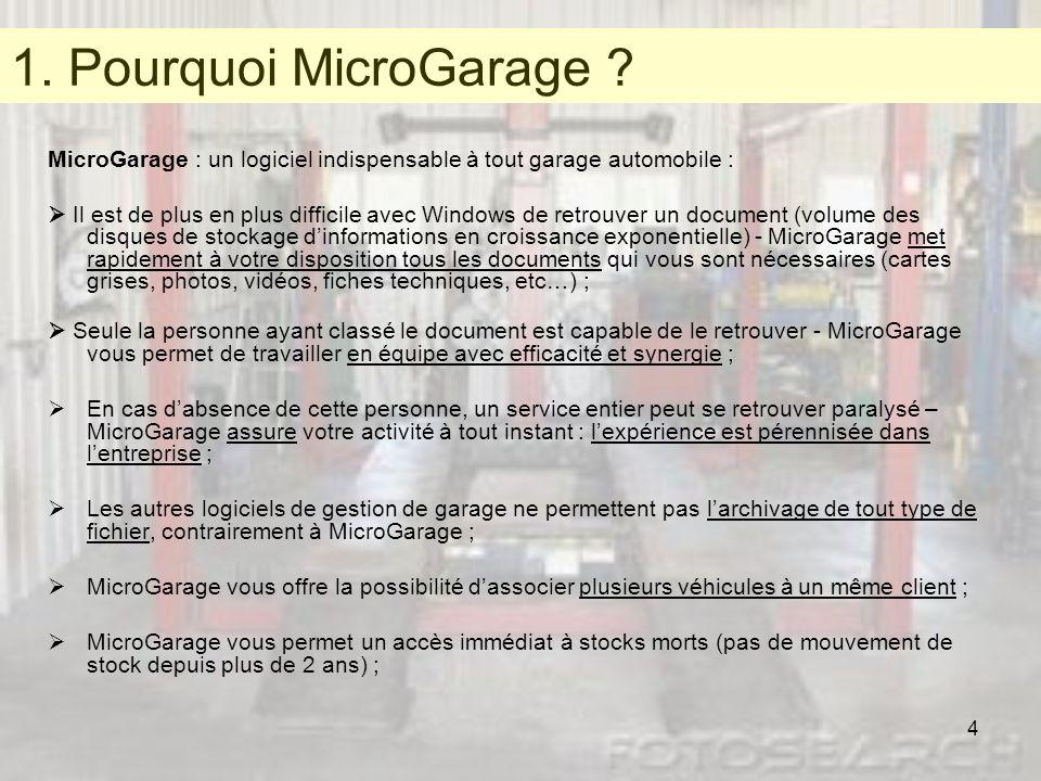 1. Pourquoi MicroGarage MicroGarage : un logiciel indispensable à tout garage automobile :