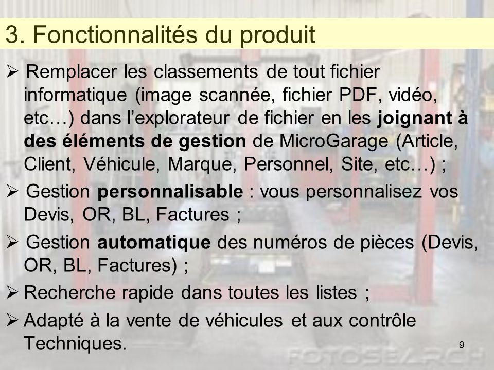 3. Fonctionnalités du Produit