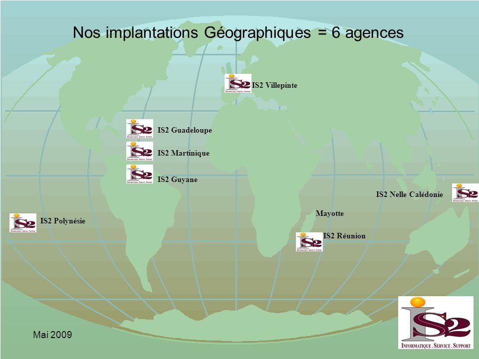 Nos implantations Géographiques = 6 agences
