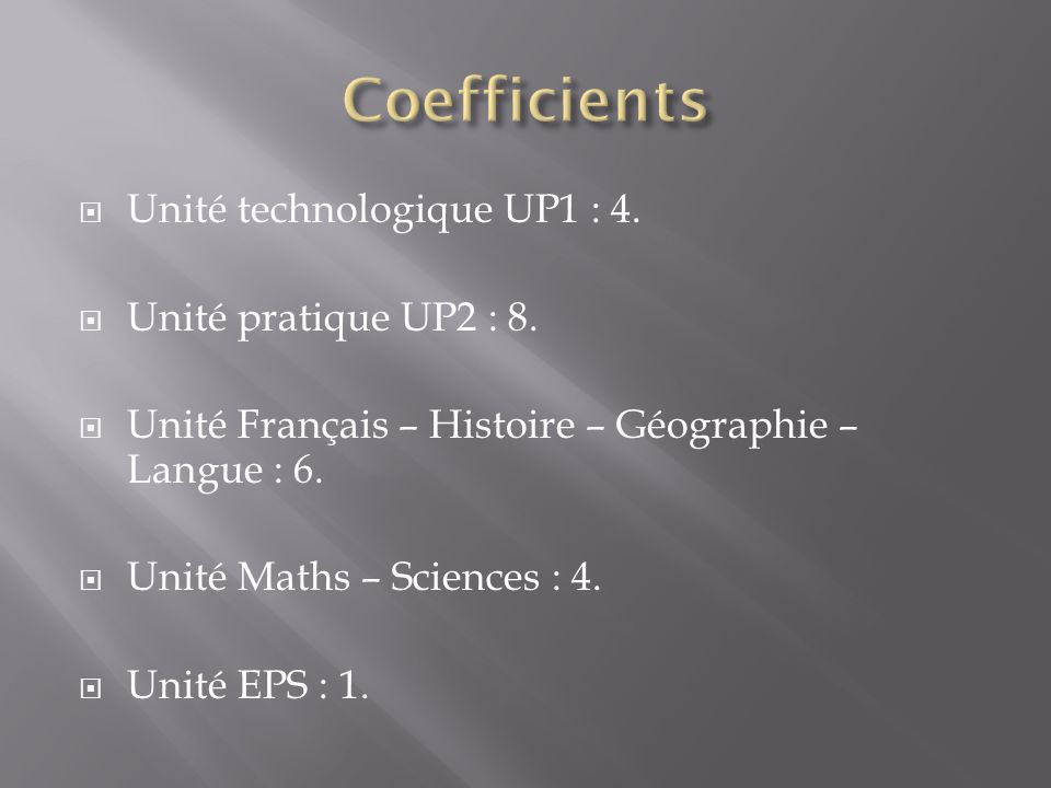 Coefficients Unité technologique UP1 : 4. Unité pratique UP2 : 8.