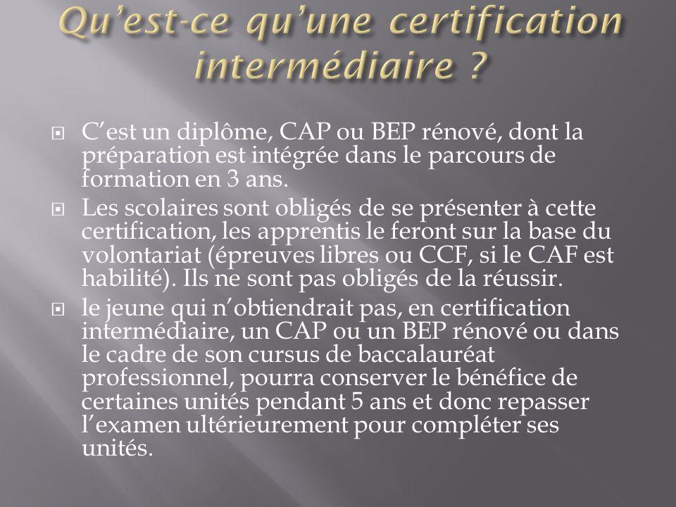 Qu'est-ce qu'une certification intermédiaire