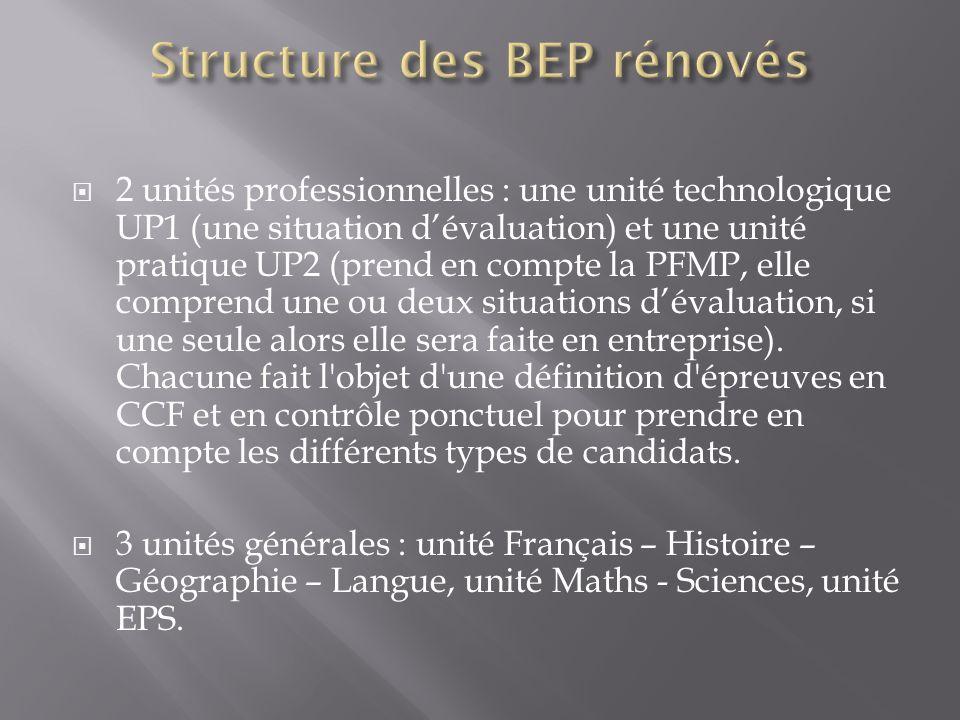 Structure des BEP rénovés