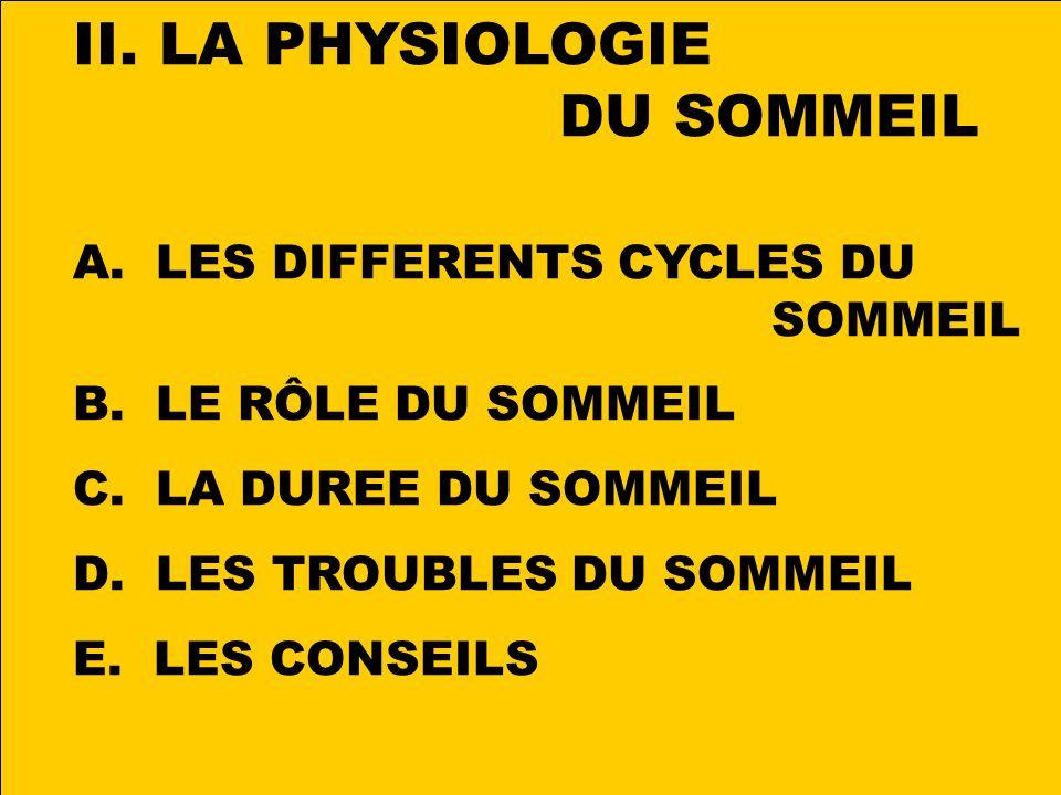 LA PHYSIOLOGIE DU SOMMEIL LES DIFFERENTS CYCLES DU SOMMEIL