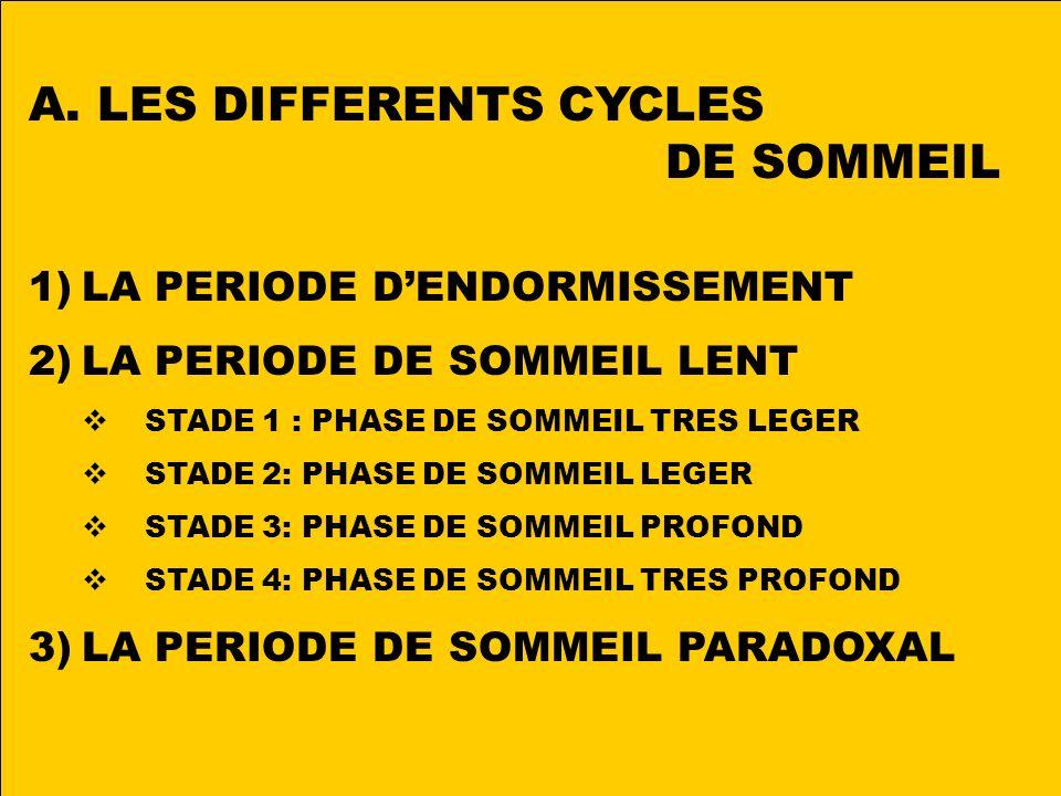 LES DIFFERENTS CYCLES DE SOMMEIL LA PERIODE D'ENDORMISSEMENT