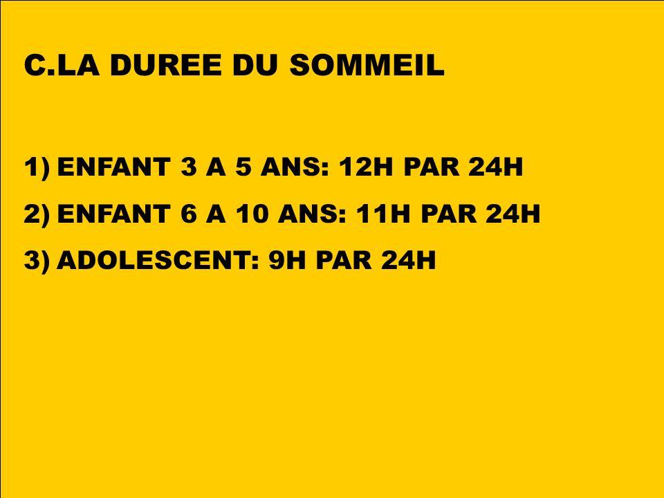 LA DUREE DU SOMMEIL ENFANT 3 A 5 ANS: 12H PAR 24H