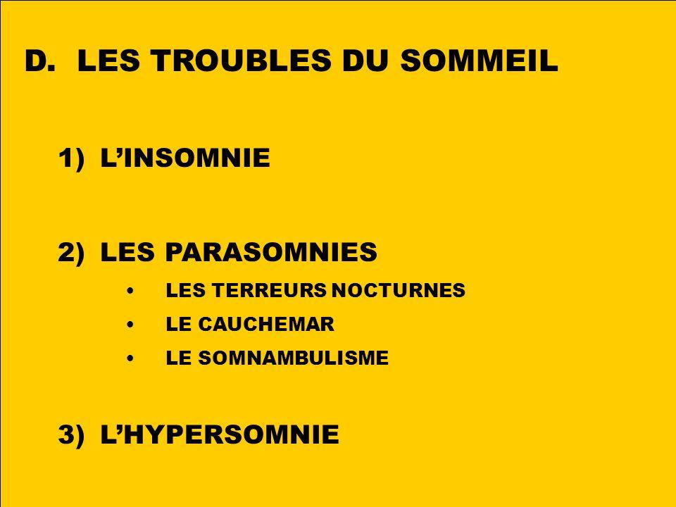 D. LES TROUBLES DU SOMMEIL