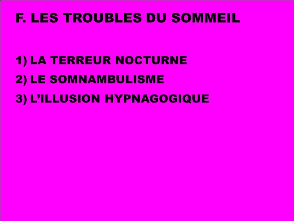 F. LES TROUBLES DU SOMMEIL