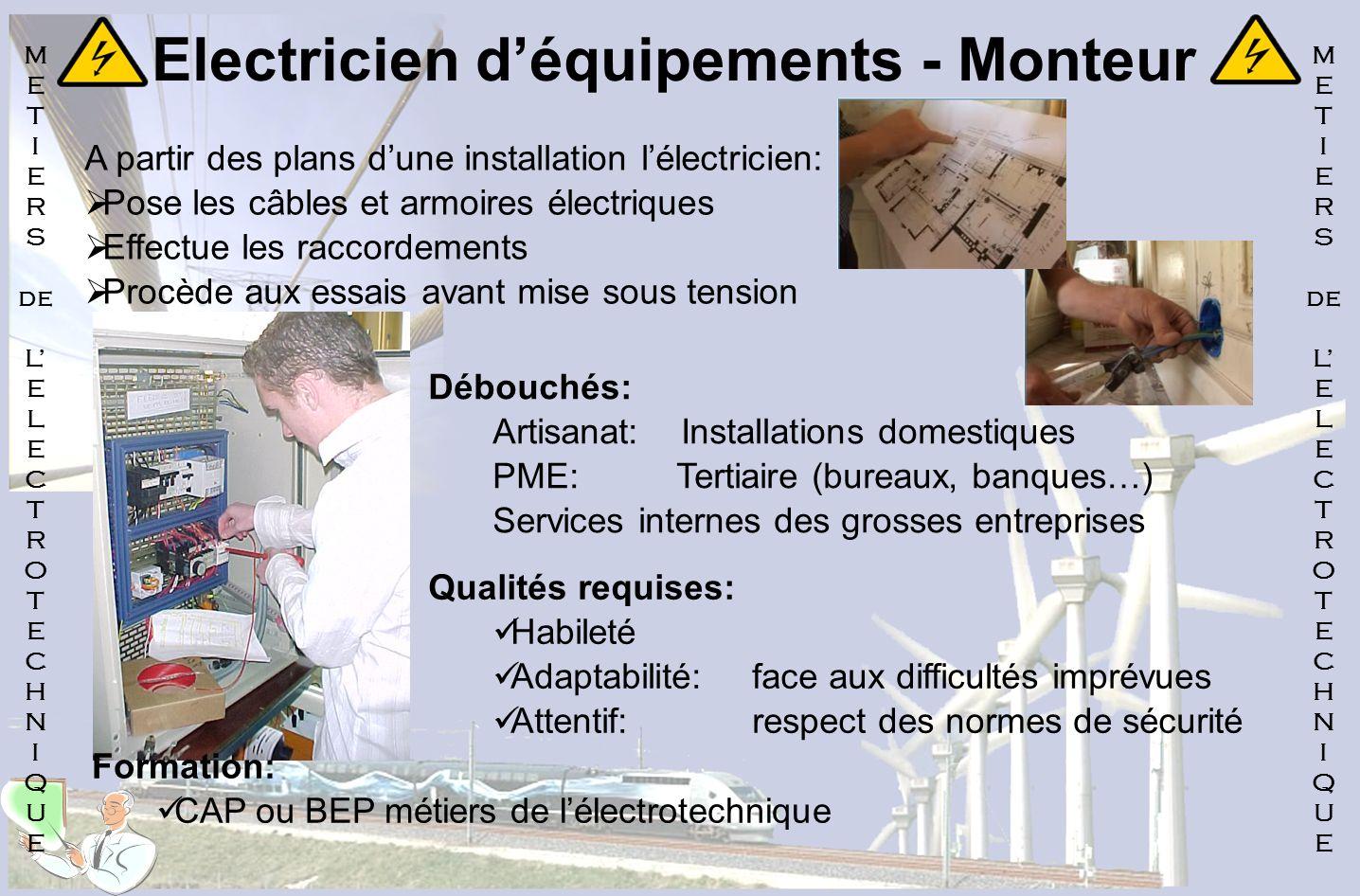 Electricien d'équipements - Monteur