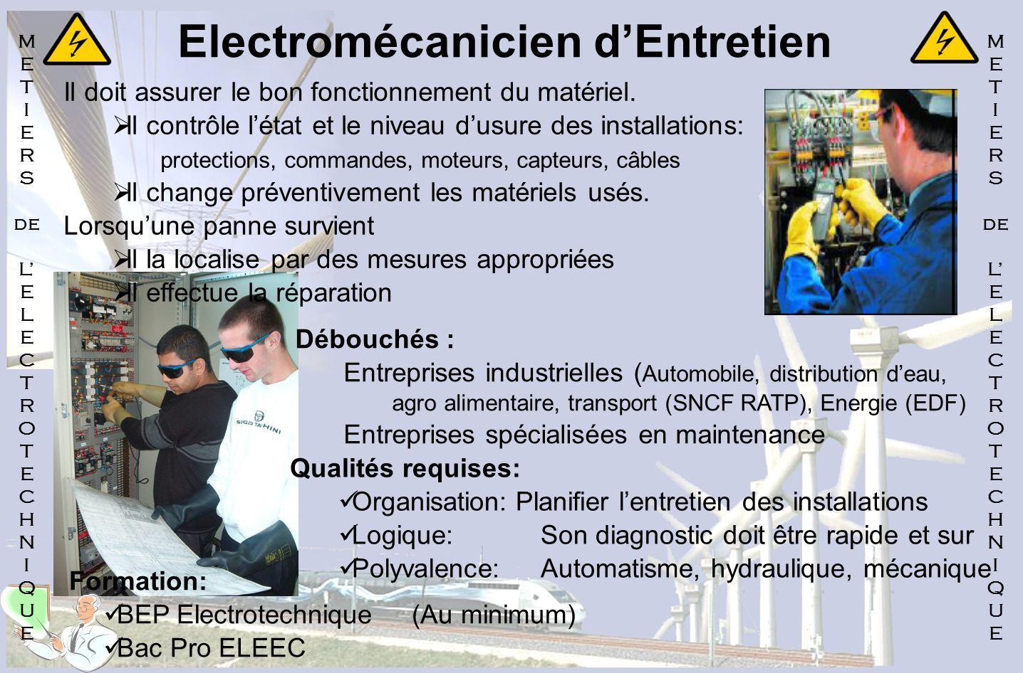 Electromécanicien d'Entretien