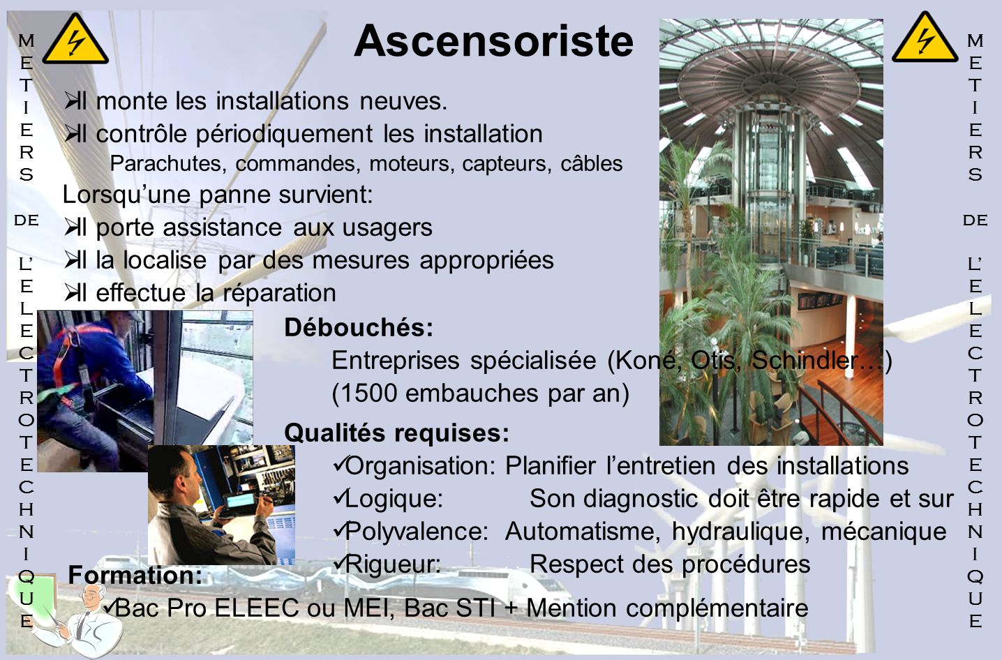 Ascensoriste Il monte les installations neuves.