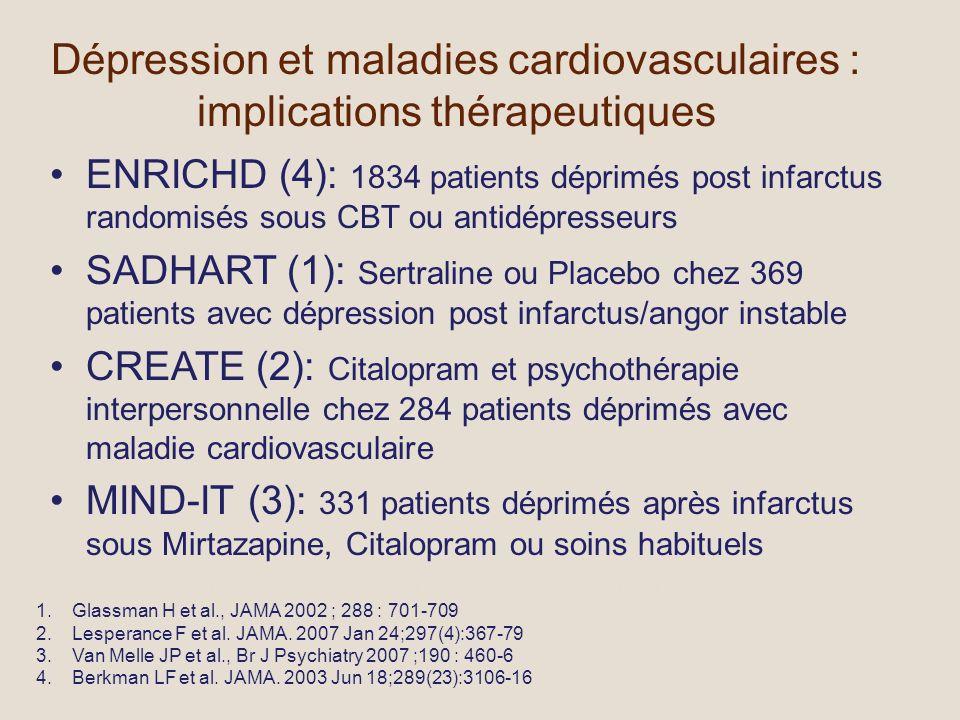 Dépression et maladies cardiovasculaires : implications thérapeutiques