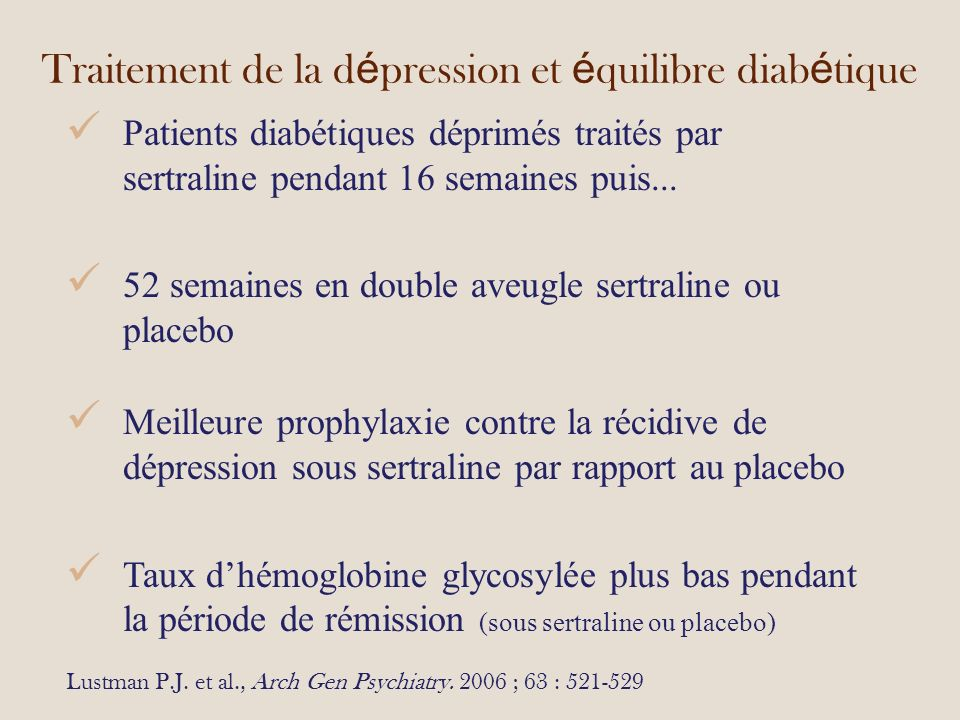 Traitement de la dépression et équilibre diabétique