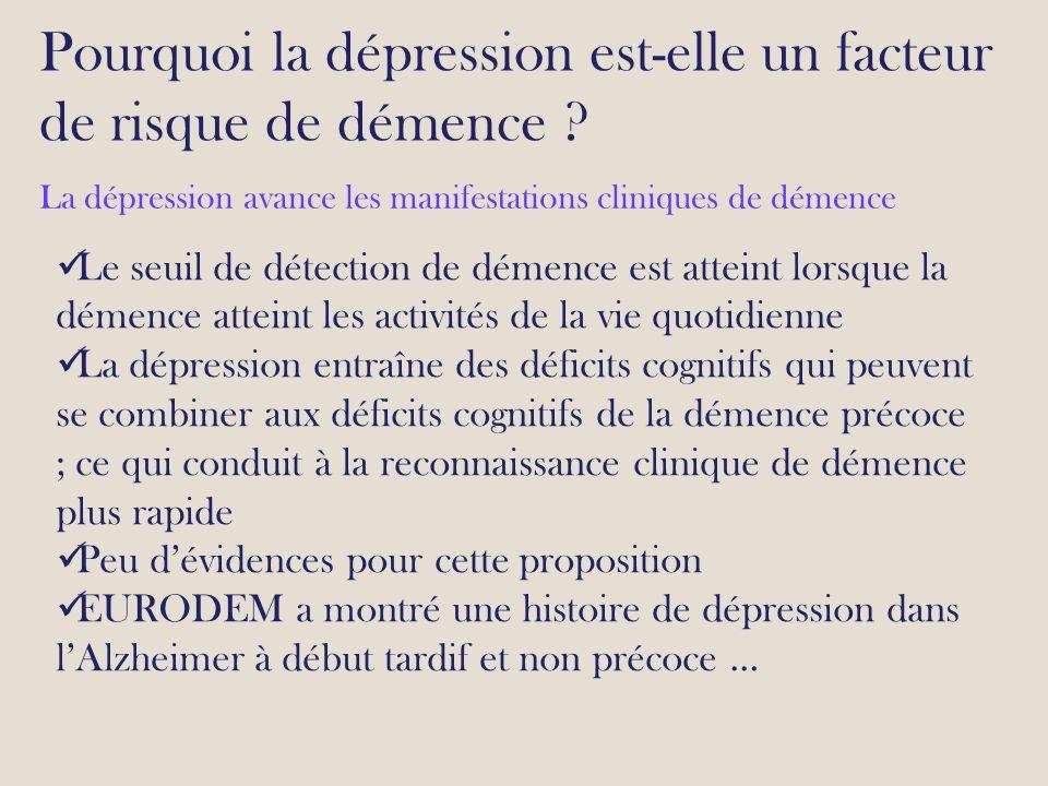Pourquoi la dépression est-elle un facteur de risque de démence