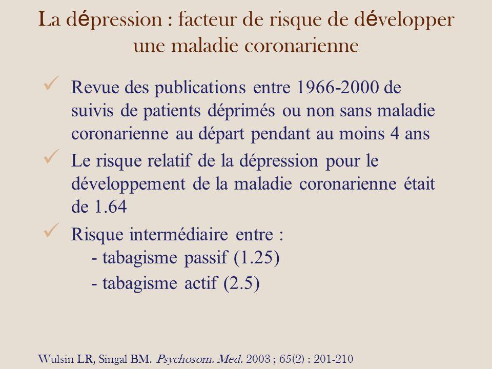 La dépression : facteur de risque de développer une maladie coronarienne
