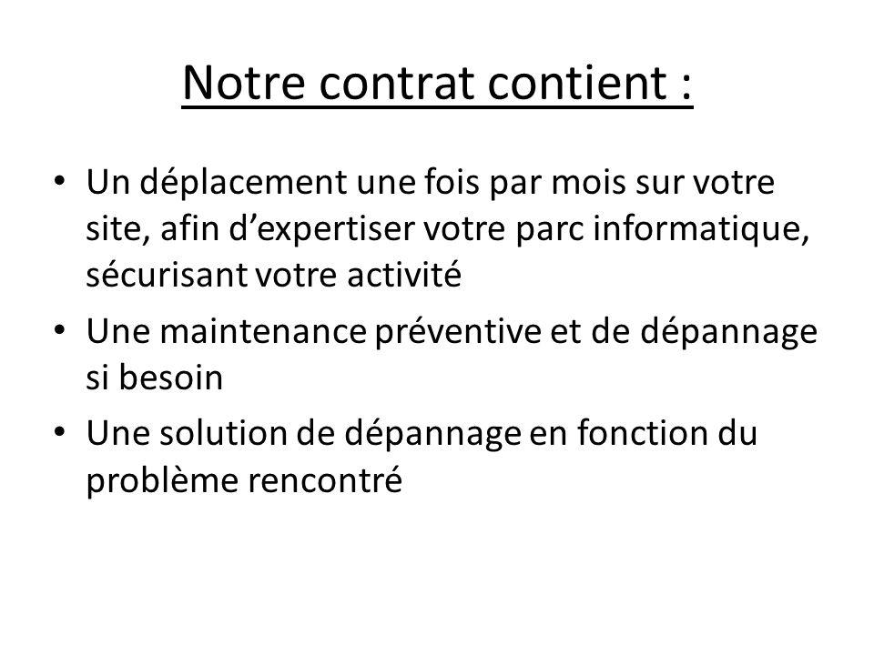 Notre contrat contient :
