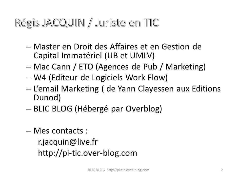 Régis JACQUIN / Juriste en TIC