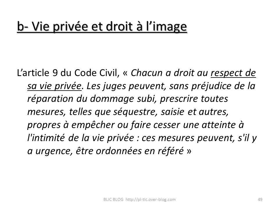 b- Vie privée et droit à l'image