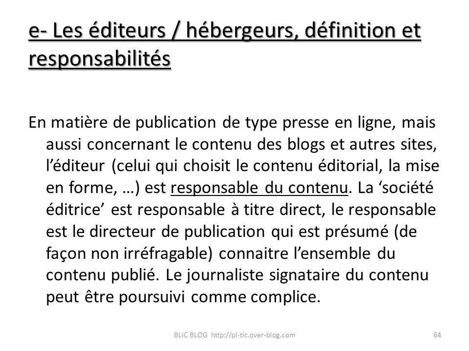 e- Les éditeurs / hébergeurs, définition et responsabilités