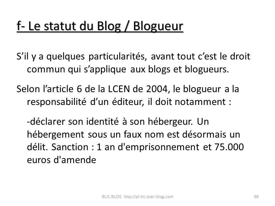 f- Le statut du Blog / Blogueur