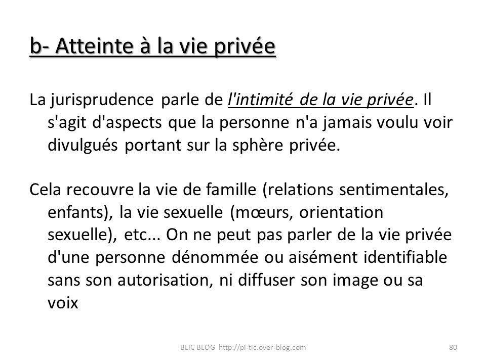 b- Atteinte à la vie privée