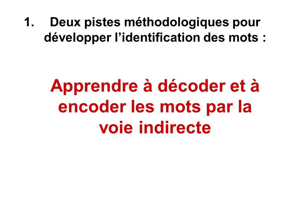 Deux pistes méthodologiques pour développer l'identification des mots : Apprendre à décoder et à encoder les mots par la voie indirecte