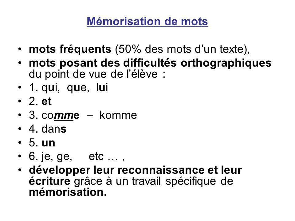 Mémorisation de mots mots fréquents (50% des mots d'un texte), mots posant des difficultés orthographiques du point de vue de l'élève :