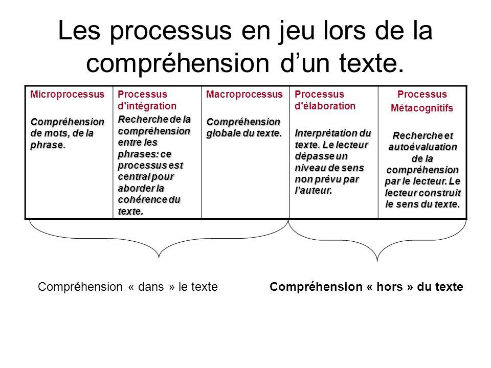Les processus en jeu lors de la compréhension d'un texte.
