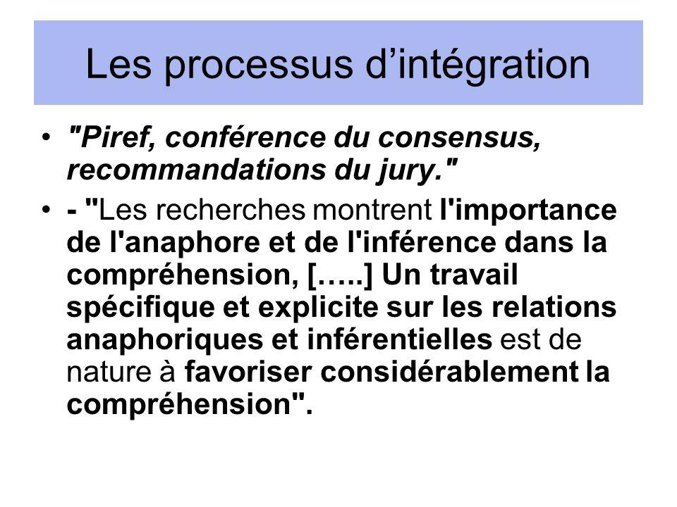 Les processus d'intégration