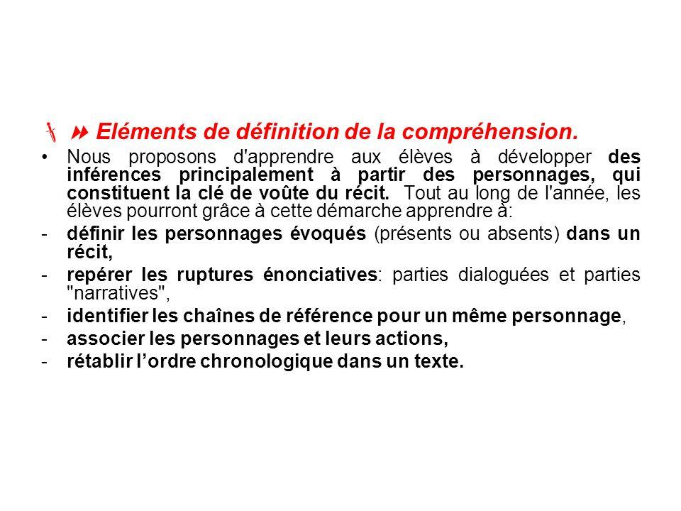 8 Eléments de définition de la compréhension.