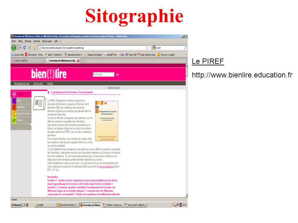 Sitographie Le PIREF http://www.bienlire.education.fr