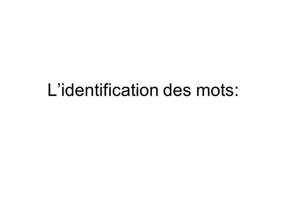 L'identification des mots: