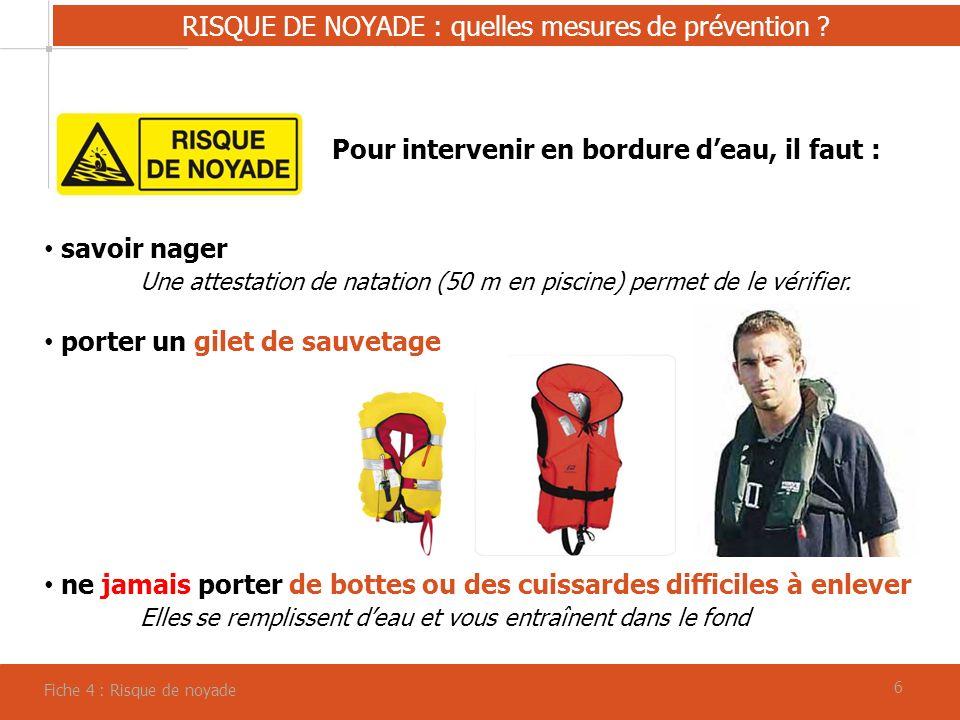 RISQUE DE NOYADE : quelles mesures de prévention