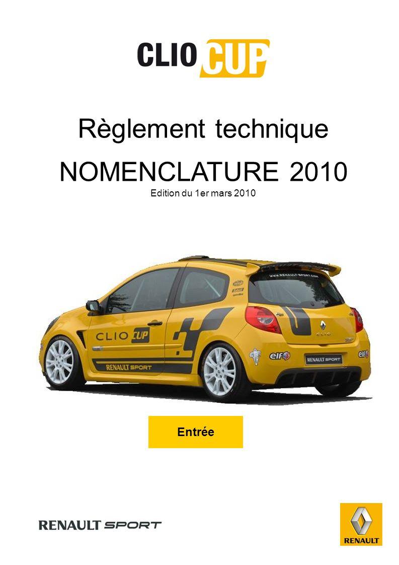 Règlement technique NOMENCLATURE 2010 Edition du 1er mars 2010