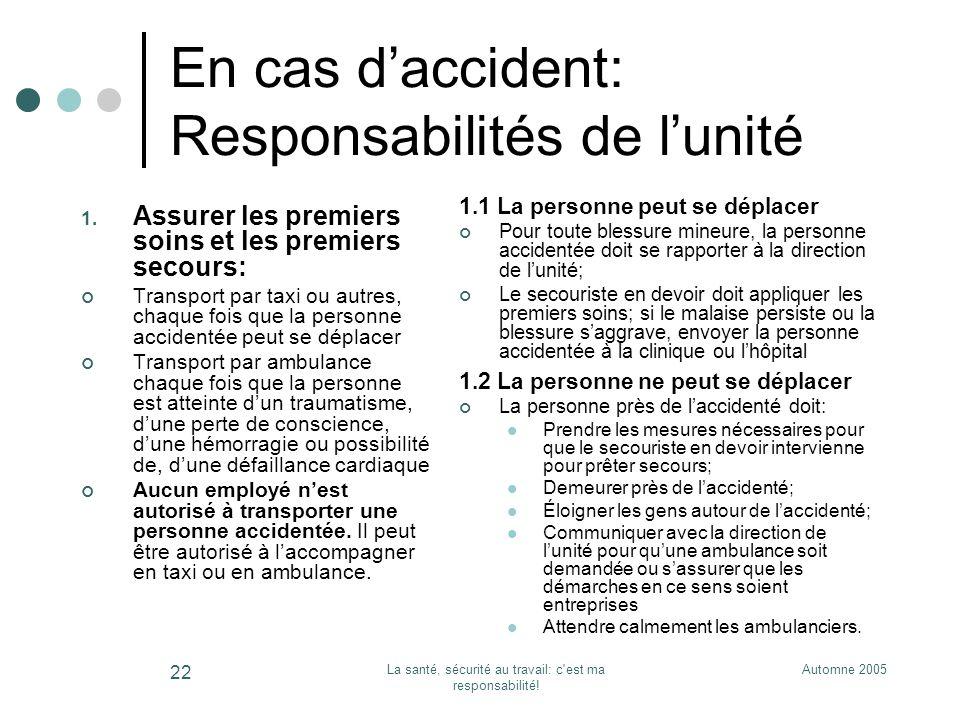 En cas d'accident: Responsabilités de l'unité