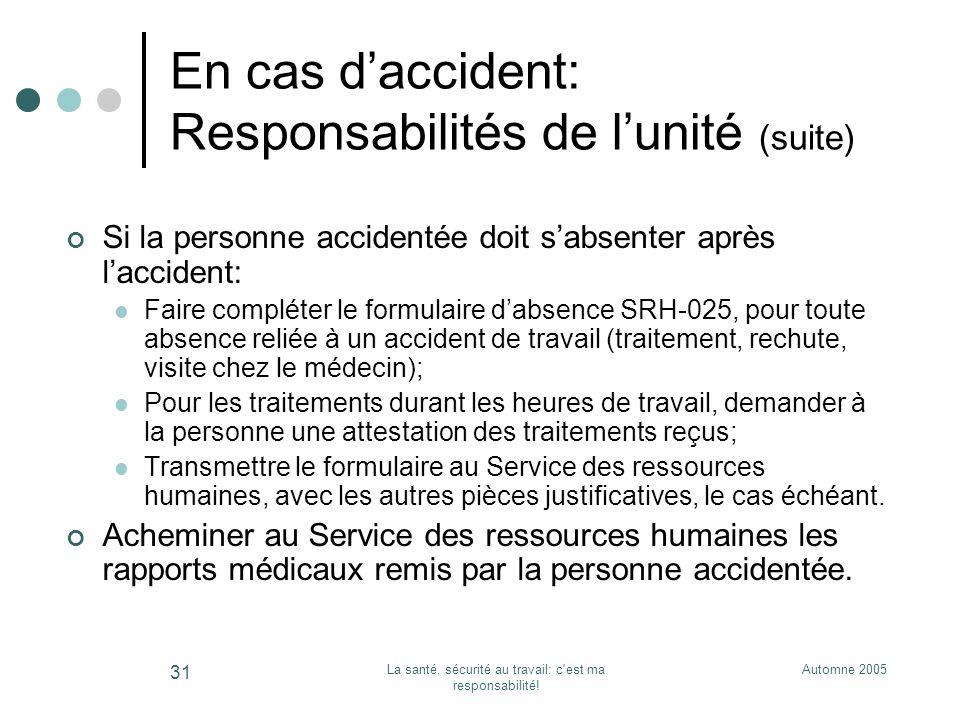 En cas d'accident: Responsabilités de l'unité (suite)