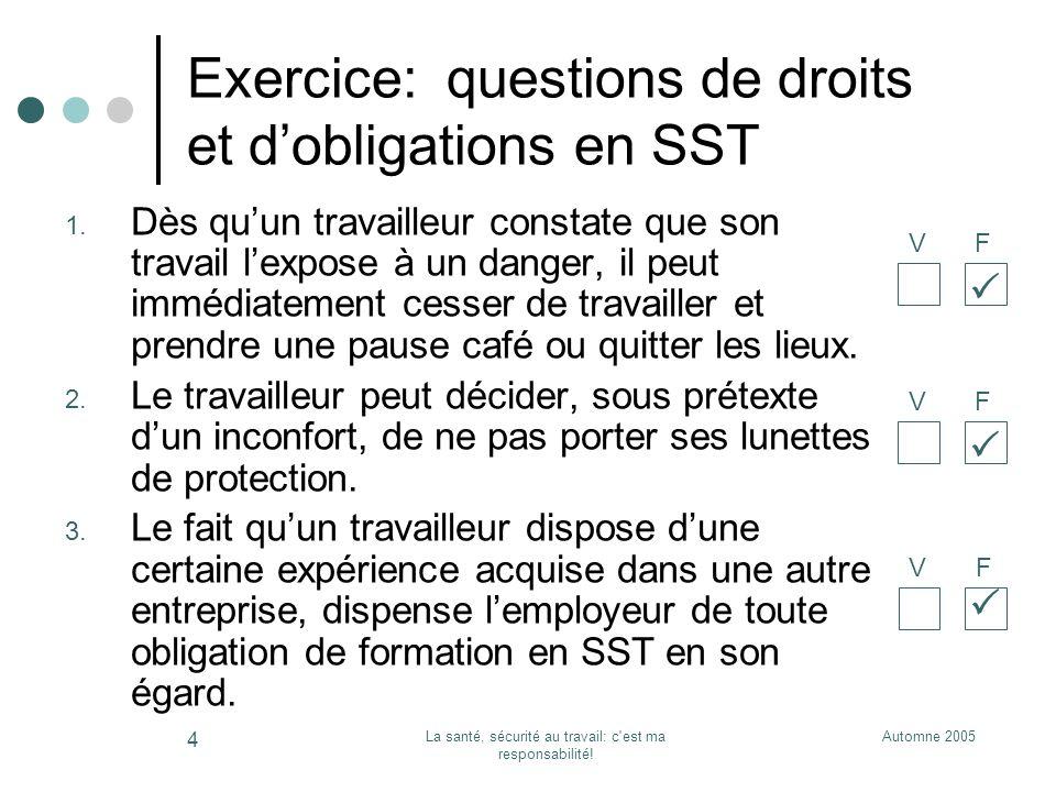 Exercice: questions de droits et d'obligations en SST