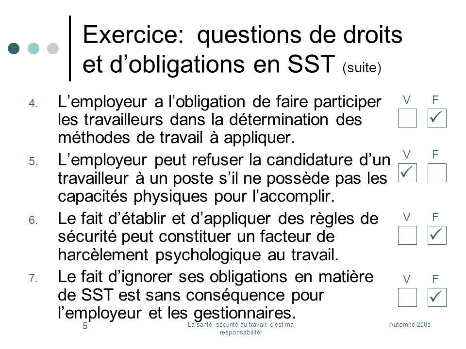 Exercice: questions de droits et d'obligations en SST (suite)